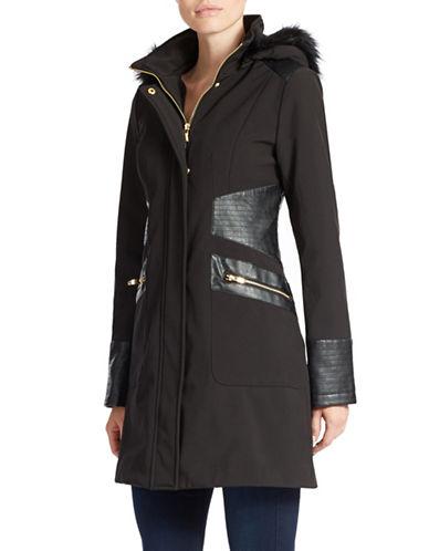 VIA SPIGAHooded Faux Fur-Lined Leatherette-Trim Jacket