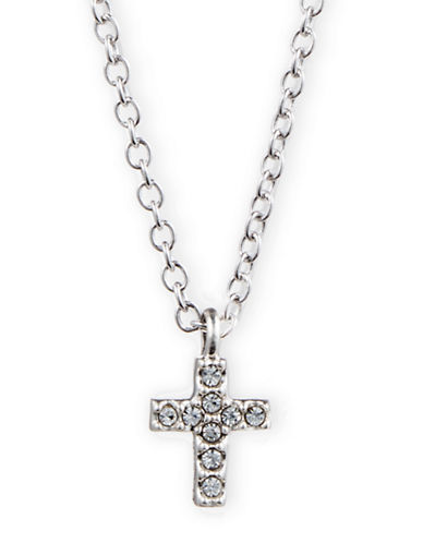 JUDITH JACK Sterling Silver and Crystal Cross Pendant Necklace