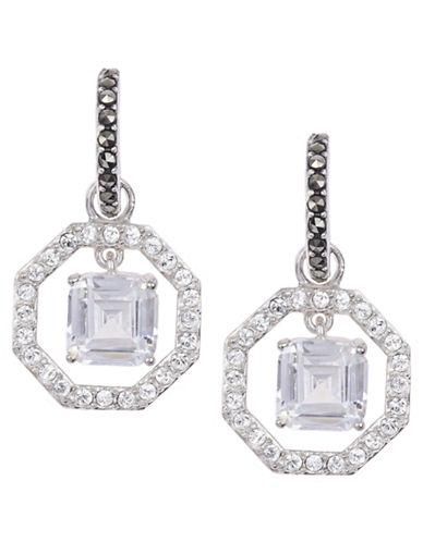 JUDITH JACKSterling Silver and Clear Crystal Geometric Drop Earrings