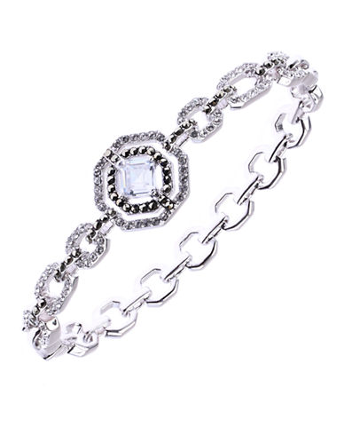 JUDITH JACK Sterling Silver and Clear Crystal Geometric Link Bracelet