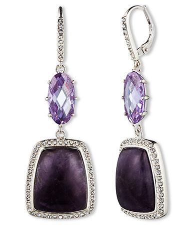JUDITH JACKSterling Silver and Deep Amethyst Gemstone Drop Earrings