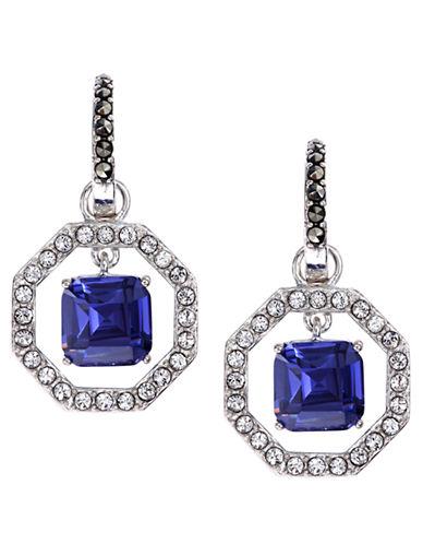 JUDITH JACKSterling Silver and Blue Crystal Geometric Drop Earrings
