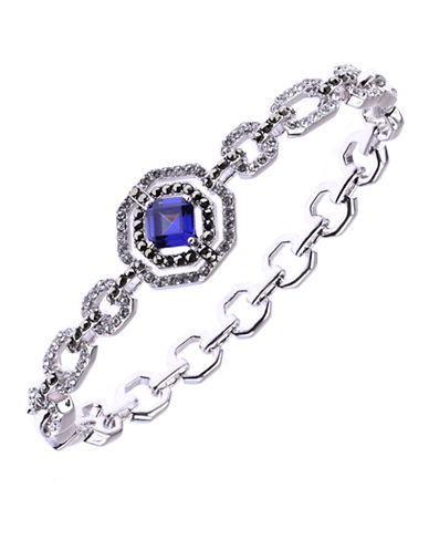 JUDITH JACK Sterling Silver and Blue Crystal Geometric Link Bracelet