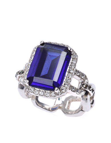 JUDITH JACK Sterling Silver and Blue Crystal Geometric Link Ring