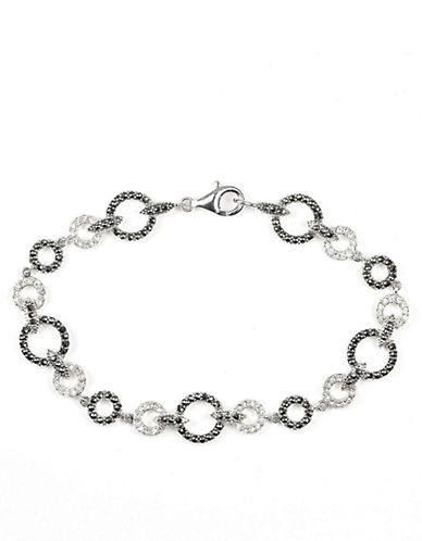 JUDITH JACK Sterling Silver and Crystal Link Bracelet