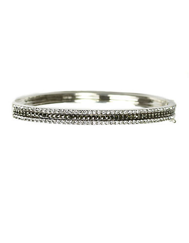 JUDITH JACK Sterling Silver and Crystal Pave Bangle Bracelet