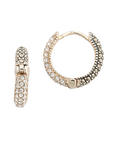 Upc 766393504524 Judith Jack Sterling Silver Marcasite And Crystal Pave Hoop Earrings Upcitemdb Com