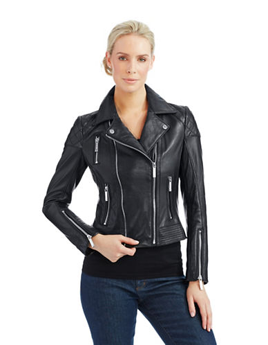 MICHAEL KORS Asymmetrical Zip Moto Jacket