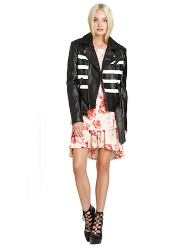 BCBGENERATIONFaux Leather Striped Moto Jacket