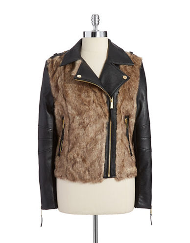 BCBGENERATION Faux Fur and Leather Bomber Jacket