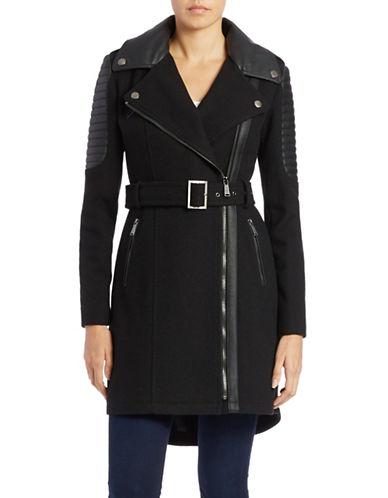 BCBGENERATIONFaux Leather Trim Belted Coat