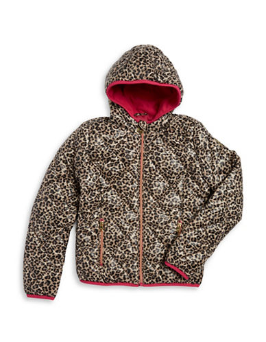 michael kors girls  girls 716 leopardprint quilted puffer coat