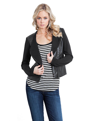 Guess Clean Knit Back PU Jacket