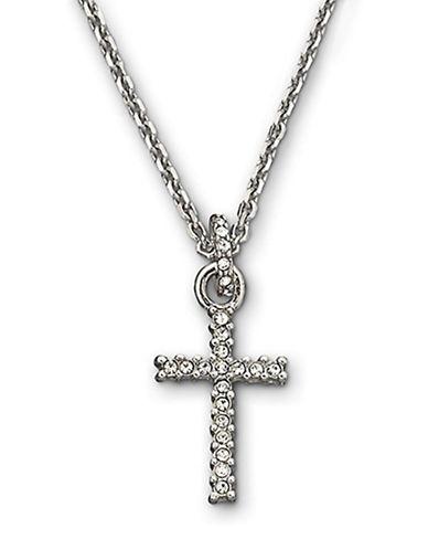 SWAROVSKISilvertone Crystal Pavé Cross Pendant Necklace