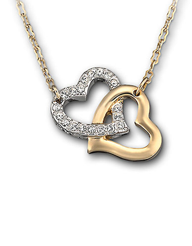 SWAROVSKIGold Tone and Crystal Double Heart Necklace
