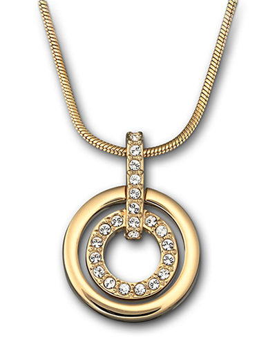 SWAROVSKI Gold Plated and Crystal Circle Pendant Necklace