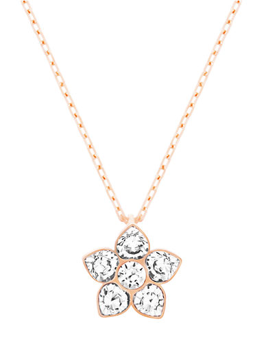 SWAROVSKI Attribute Rose Gold Tone and Crystal Flower Pendant Necklace