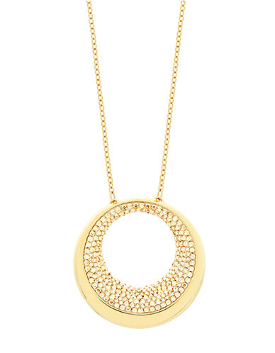 SWAROVSKIPebble Gold Tone and Crystal Pendant Necklace