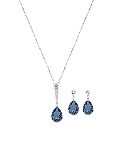 Vintage Crystal Pendant Necklace and Drop Earrings Set