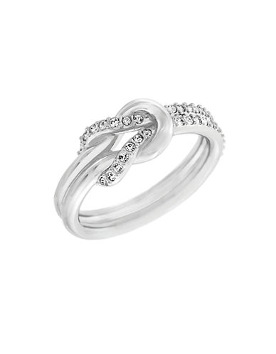 SWAROVSKIVoile Silver Tone and Crystal Knot Ring