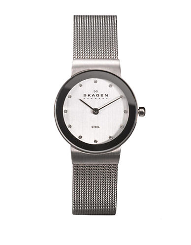 SKAGEN DENMARKLadies Mesh Watch With Silver-Tone Crystal Accented Dial