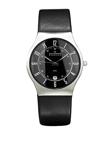 SKAGEN DENMARKMens Black Dial Watch with Black Leather Strap