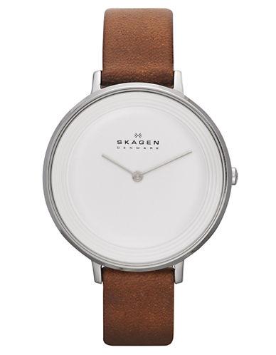 SKAGEN DENMARKLadies Ditte Watch with Brown Leather Strap