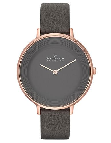 SKAGEN DENMARKLadies Ditte Watch with Gray Leather Strap