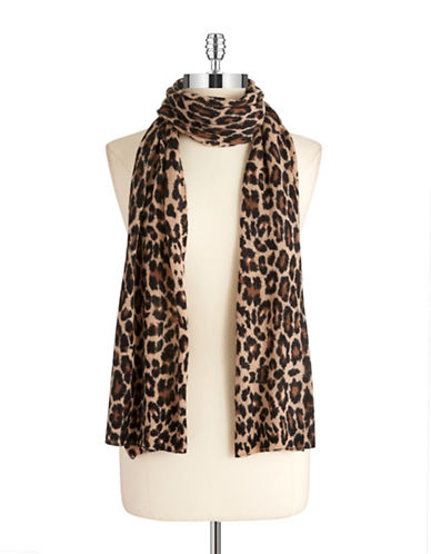 LORD & TAYLOR Cashmere Animal Print Scarf