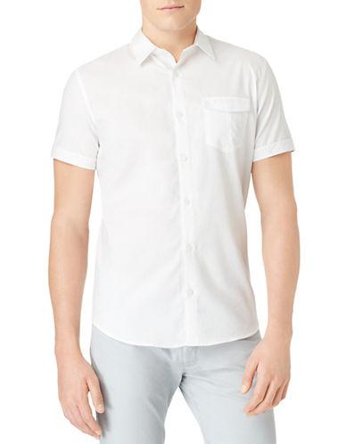 CALVIN KLEINSlim Fit Mixed Media Dobby Sport Shirt