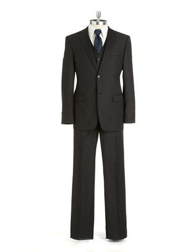 BLACK BROWN 1826Slim Fit Plaid Three-Piece Wool Suit