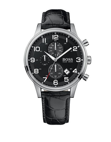 HUGO BOSS Mens Black Band Chronograph Watch