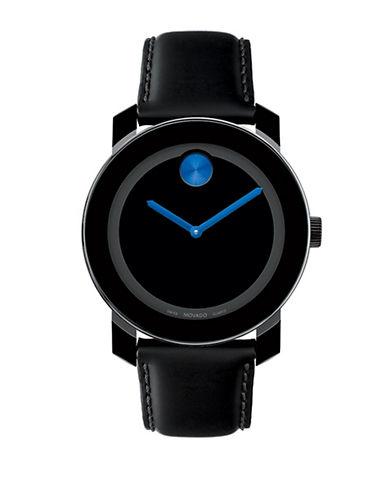 MOVADO BOLDMens Bold Black and Blue Leather Watch