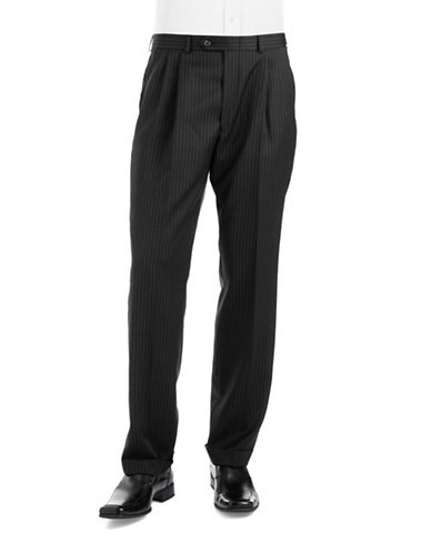 LAUREN RALPH LAUREN Classic Fit Pleated Pinstriped Wool Pants
