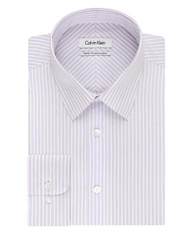 CALVIN KLEINRegular Fit Striped Cotton Dress Shirt