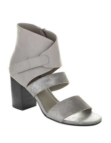 EILEEN FISHER Palladium Metallic Suede Heels