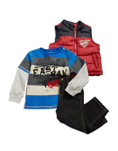 KIDS HEADQUARTERS Boys 2-7 Baseball Jacket with Football Tee and Jeans