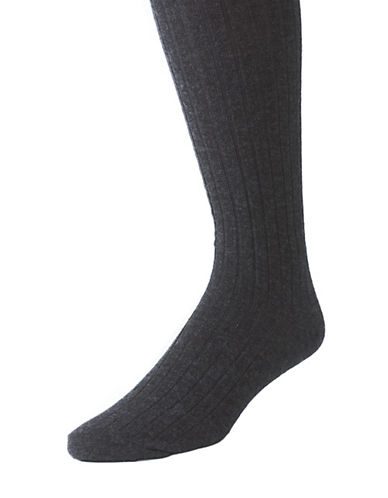 BLACK BROWN 1826 Wool Blend Ribbed Over-the-Calf Dress Socks