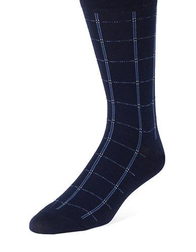 BLACK BROWN 1826Mercerized Windowpane Plaid Dress Socks