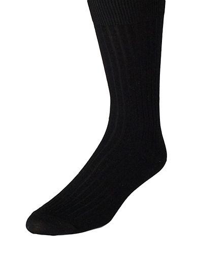 BLACK BROWN 1826Mercerized Ribbed Dress Socks