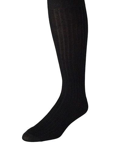BLACK BROWN 1826Ribbed Mercerized Over the Calf Socks