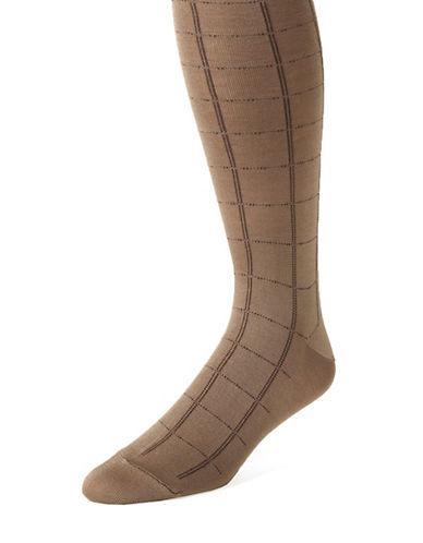 BLACK BROWN 1826Grid Print Socks