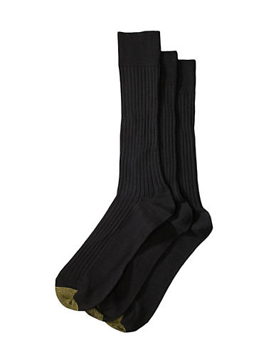 GOLD TOE3-Pack Ribbed Cotton Socks