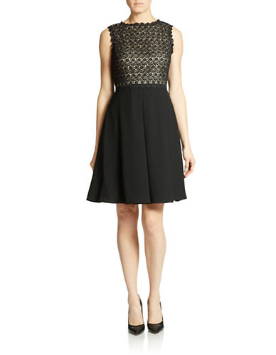IVANKA TRUMP Lace Bodice Fit and Flare Dress