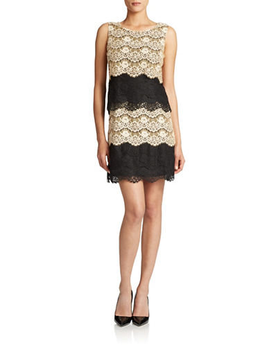 JESSICA SIMPSONLace Overlay Colorblock Dress