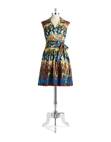 ELLEN TRACYPatterned Fit and Flare Dress