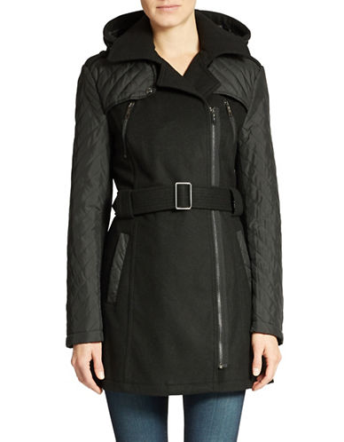 KENNETH COLE REACTIONZipped Quilted and Belted Winter Jacket