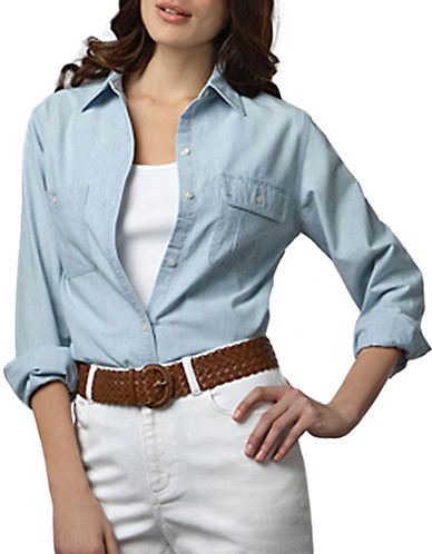 LAUREN RALPH LAUREN Plus Chambray Pocket Shirt