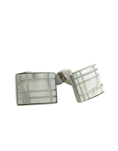 DAVID DONAHUEStainless Steel and Mother of Pearl Rectangle Cufflinks