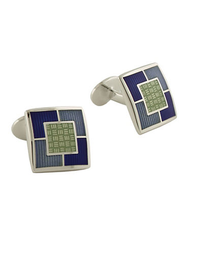 DAVID DONAHUESterling Silver and Enamel Square Cufflinks